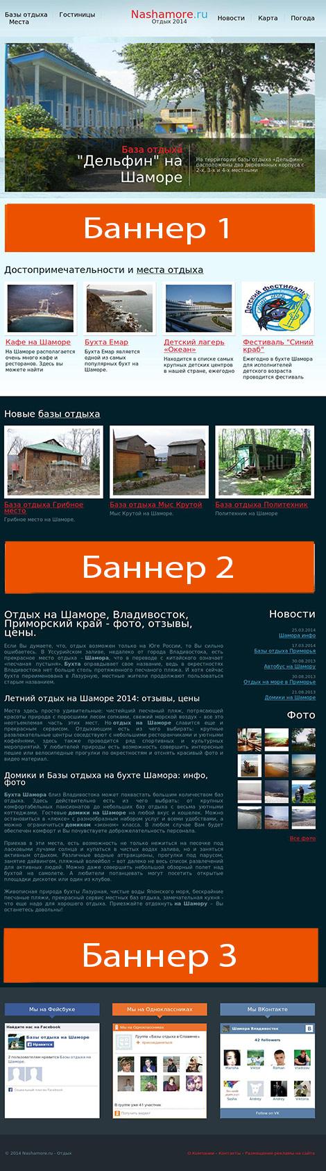 схема размещения рекламы на сайте nashamore.ru  height=